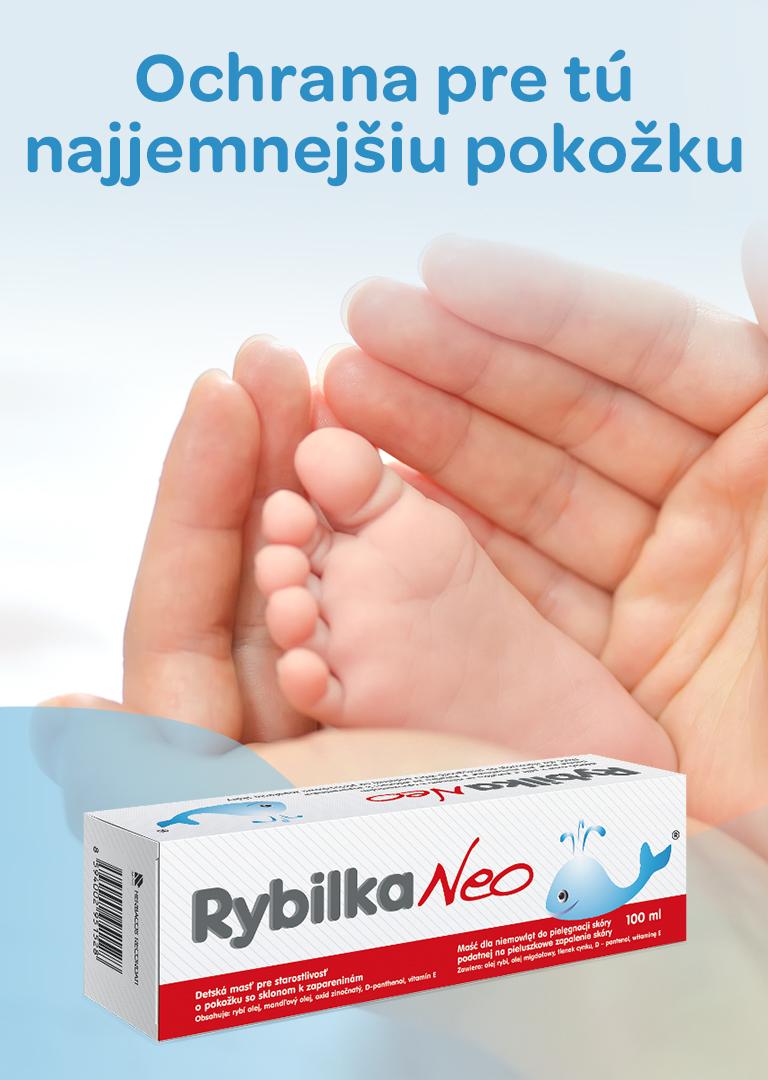 Rybilka NEO, detská pokožka, rybí olej z tresčej pečene, panthenol, Vitamín E, regeneruje, upokojuje, zvláčňuje