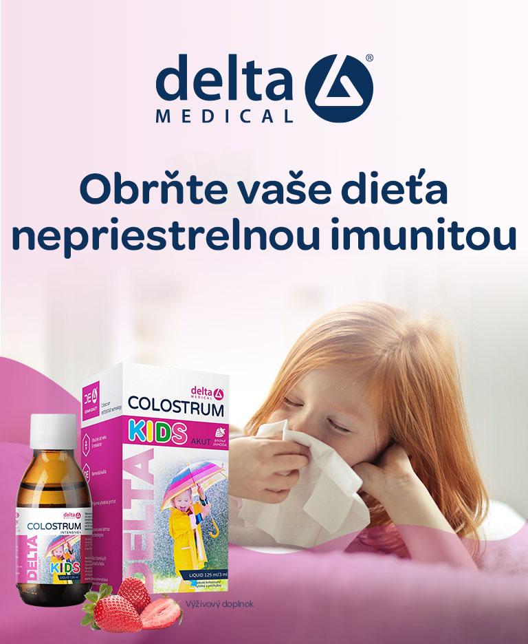 Delta colostrum kids, sirup akut, jahodová príchuť, oslabená imunita, pre deti