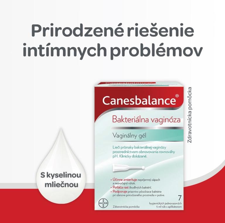 Canesbalance, vaginálny gél, normalizuje ph, rieši intímne problémy prirodzeným spôsobom, lieči príznaky bakteriálnej vaginózy