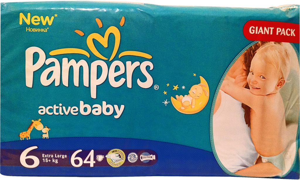 PAMPERS Active Baby GIANT PACK 6 EXTRA L detské plienky 1x64 ks