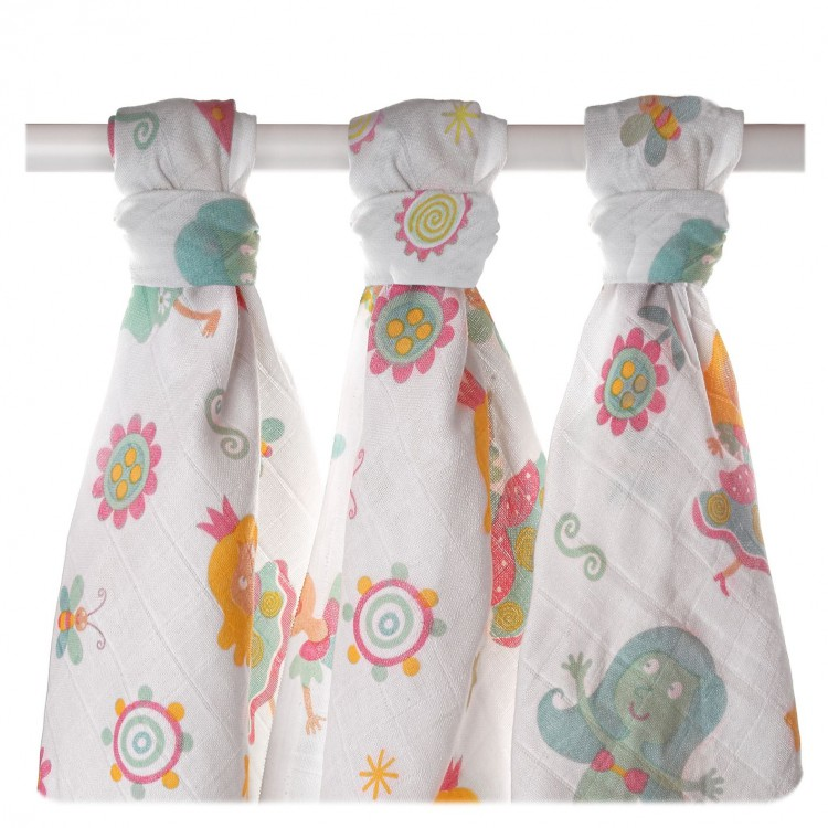 XKKO LUX bavlnené plienky 80x80 s potlačou - Pre Dievčatá - 3ks