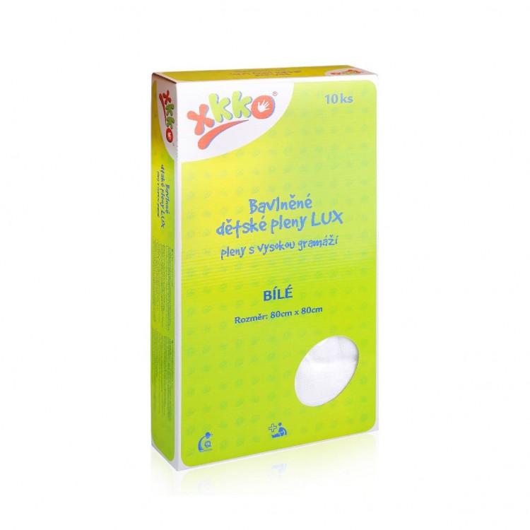 XKKO LUX vysokogramážne bavlnené plienky 80x80 biele - 10ks