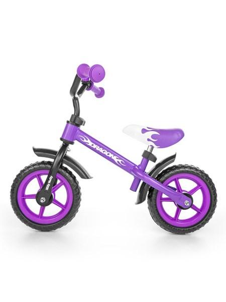 Detské odrážadlo kolo Milly Mally Dragon s brzdou purple