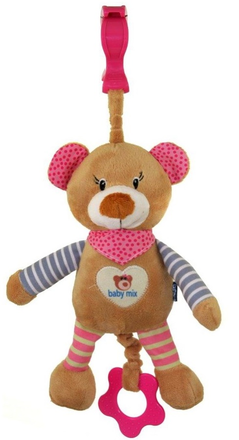 Detská plyšová hračka s hracím strojčekom Baby Mix medvedík ružový