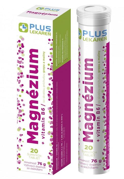 PLUS LEKÁREŇ Magnézium + vitamín B6 tbl eff s príchuťou grepu a maliny 1x20 ks