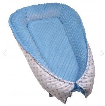 Hniezdočko pre bábätko MINKY, WHITE / BLUE DOTS