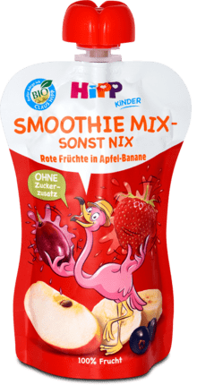 HiPP BIO Smoothie Jablko Banán Červené ovocie kapsička ovocný príkrm 1x120 ml