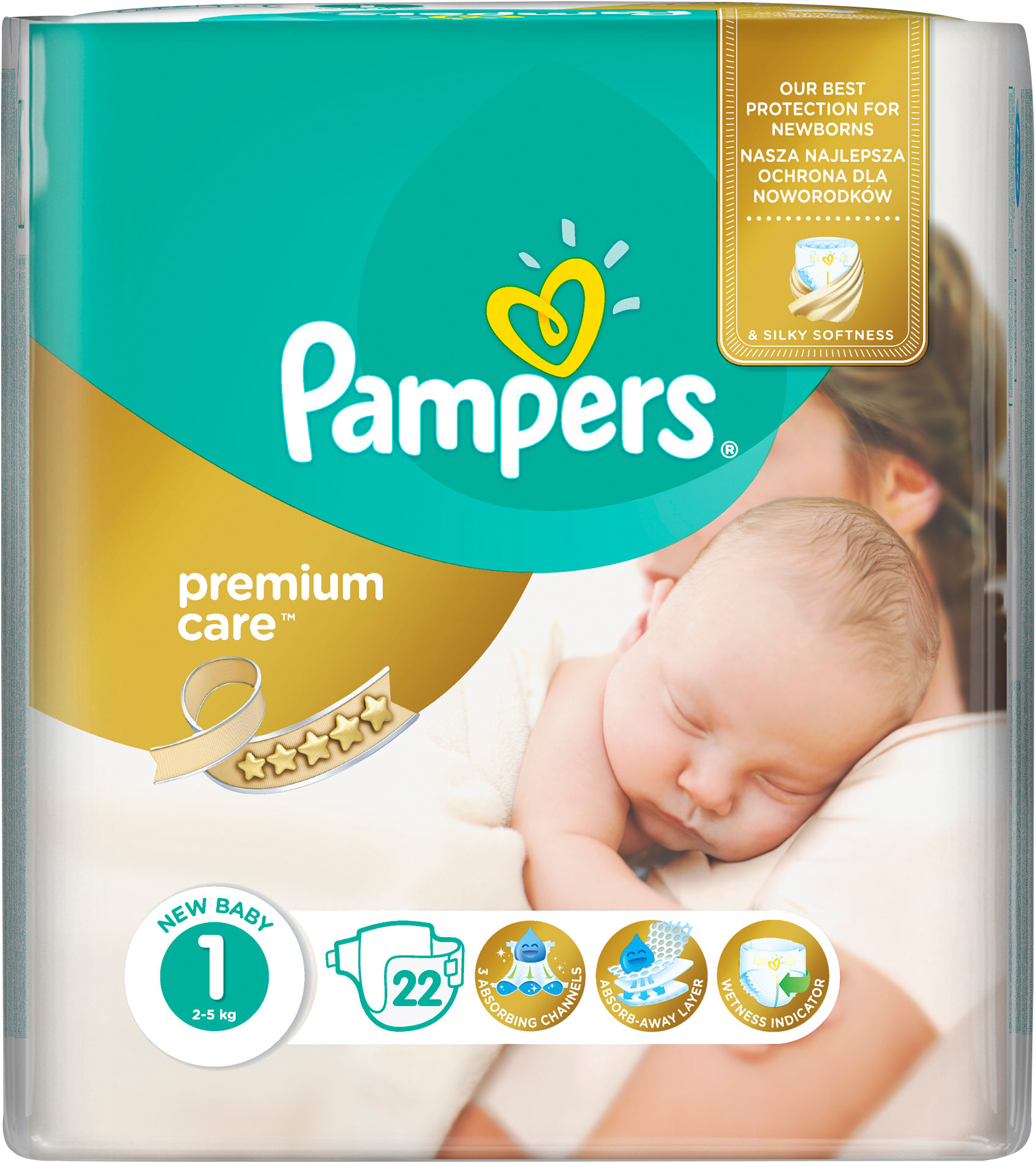 Pampers Premium Care S1 - 22 ks New Baby