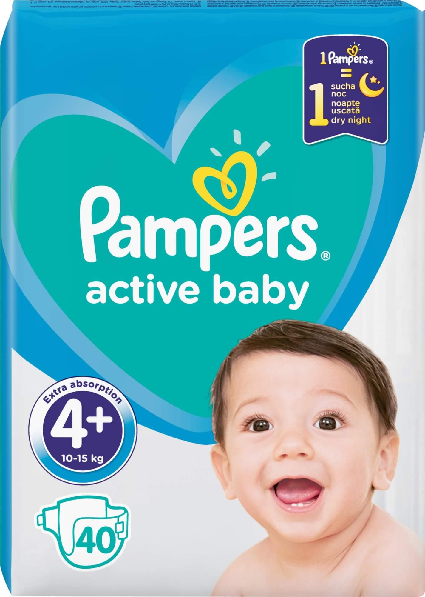 PAMPERS Active Baby 4+ detské plienky (10-15kg) 40ks