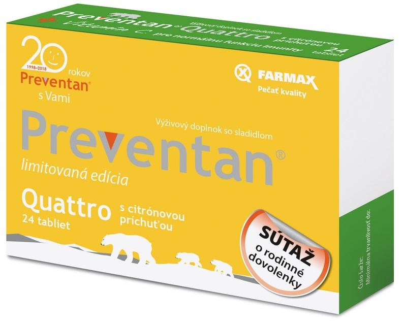 FARMAX Preventan Quattro s citrónovou príchuťou limitovaná edícia 24tbl
