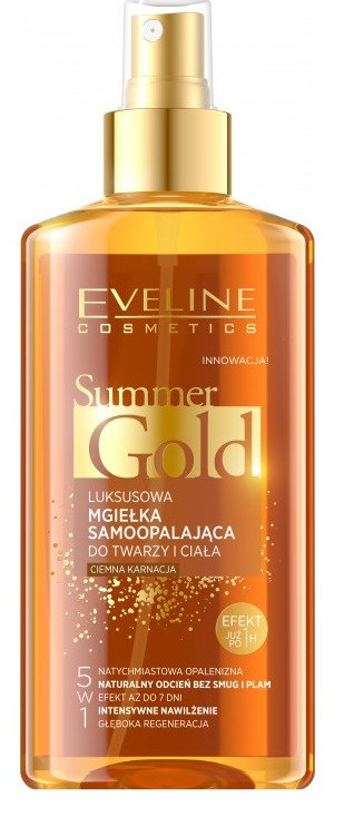 Eveline Cosmetics Summer Gold Samoopaľovací sprej na tvár a telo 5v1 - tmavá pleť 150ml