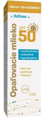 MedPharma Opaľovacie mlieko SPF50 200+30ml zadarmo