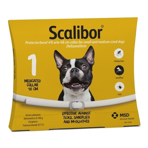 SCALIBOR Protectorband obojok 48cm 4% w/w, pre malé a stredne veľké psy 1ks