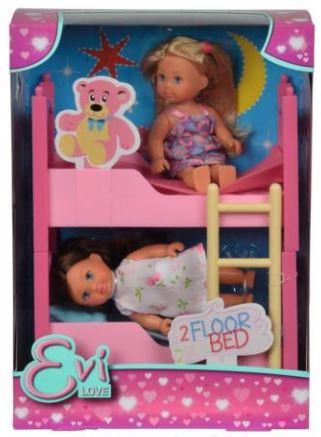 Dve Evičky s poschodovou posteľou a príslušenstvom