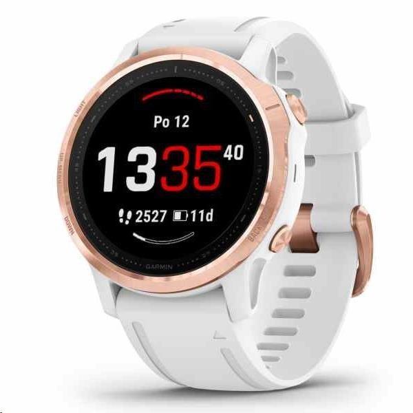 Garmin GPS športové hodinky Fenix6S Glass, Rosegold / White Band (MAP / Music)