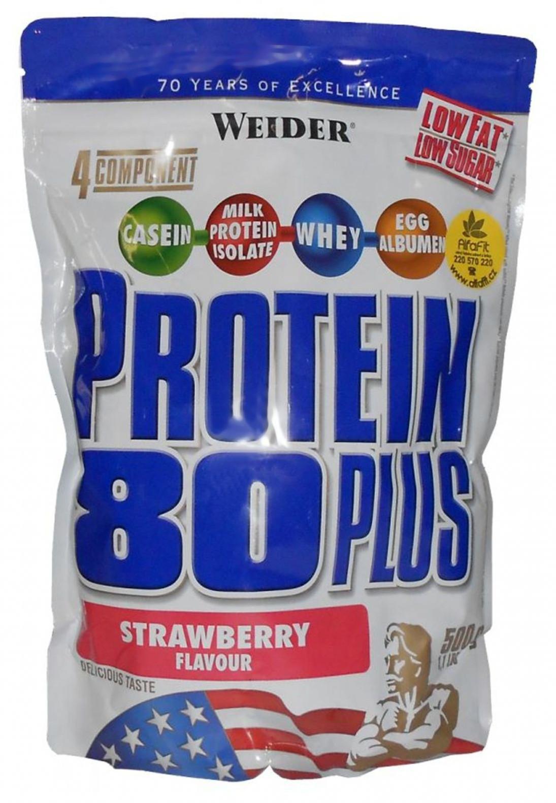 Weider Protein 80 Plus, 500g - jahoda
