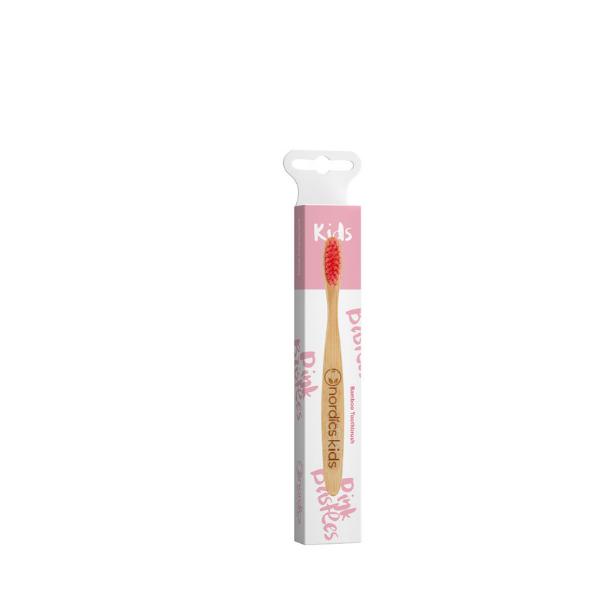 NORDICS Detská bambusová kefka na zuby s ružovými štetinami