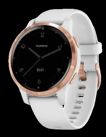 Garmin monitorovací náramok a hodinky vívoactive4S RoseGold/White Band