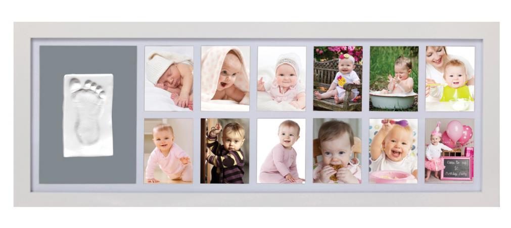 Adora Sada pre odtlačok - nástenný rámček pre 12 fotografií - biely