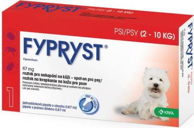 Fypryst psy 2-10kg roztok na kvapkanie na kožu pre psov 0,67 ml