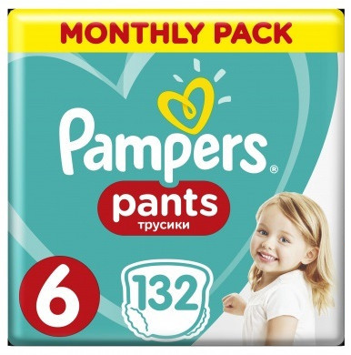 Pampers Pants 6 Extra Large (15 kg) Monthly pack 132ks