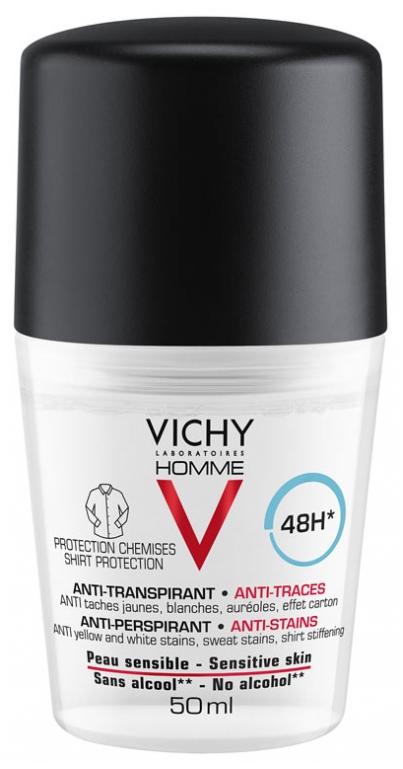 Vichy Homme Deo roll-on proti škvrnám 48H antiperspirant na citlivú pokožku 50ml