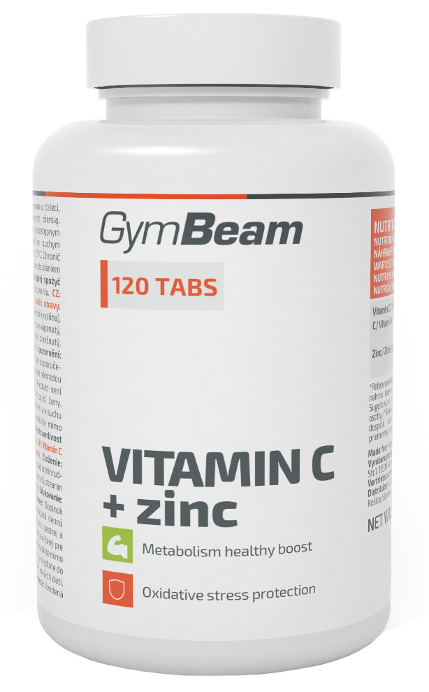 GymBeam Vitamín C + zinok, 120 tablet
