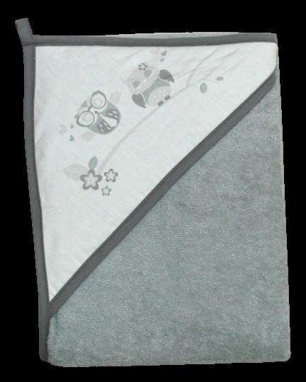 TEGA BABY Osuška s kapucňou Sovičky 100x100cm,šedá