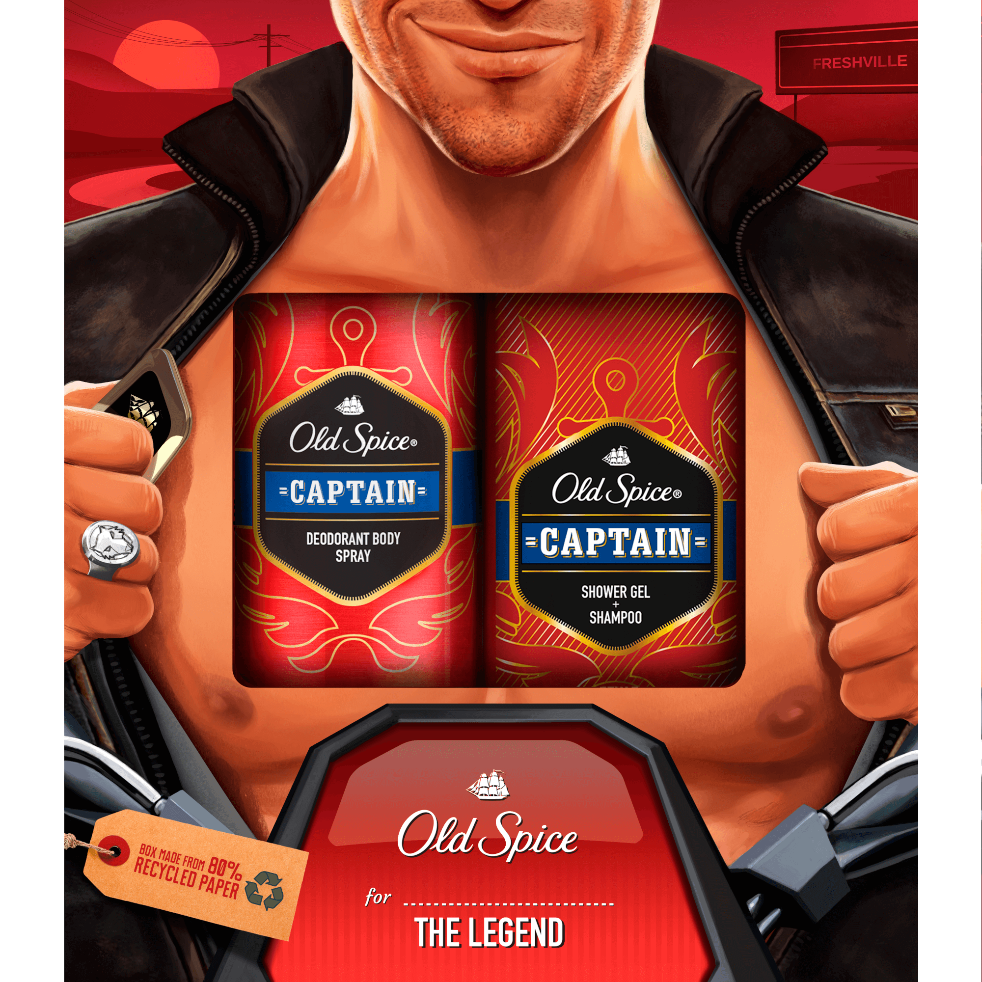 Old Spice VB Captain Deo Spray 150ml + SG 250ml