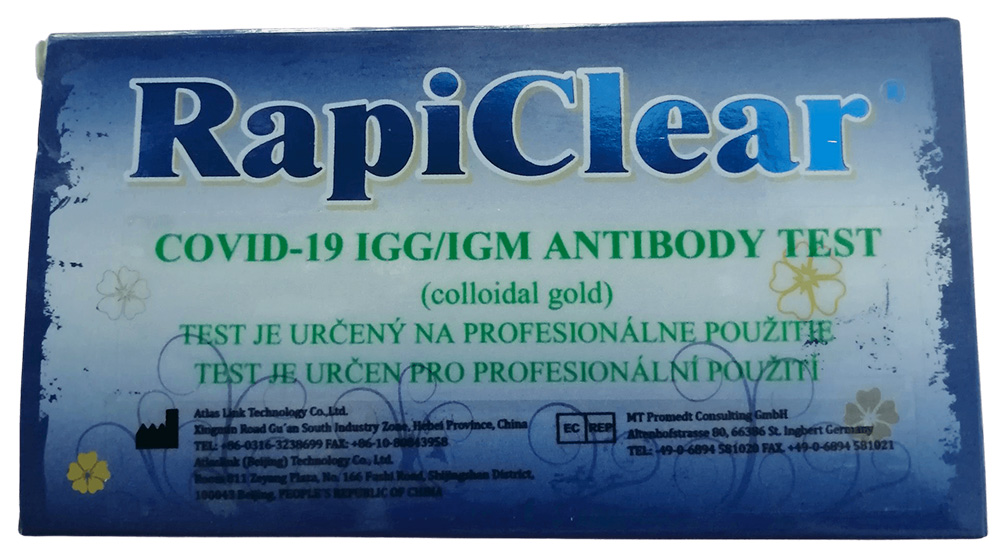 RapiClear COVID-19 IgG/IgM test na detekciu protilátok