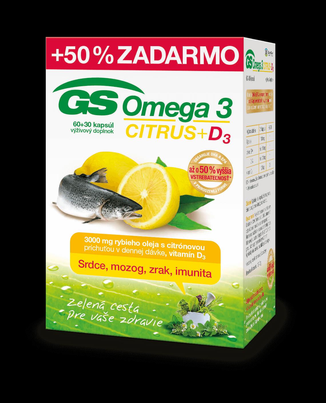 GS Omega 3 CITRUS + D3 60+30cps