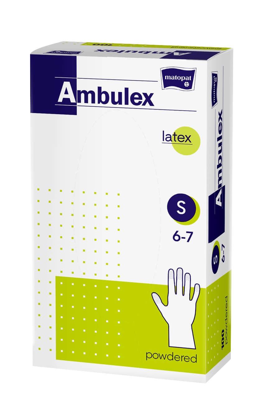 Ambulex rukavice LATEXOVÉ veľ. S, nesterilné, pudrované 100 ks