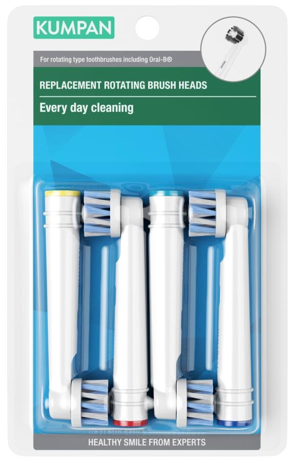KUMPAN EB50P Optimal cross cleaning Náhradné hlavice pre rotačné zubné kefky 4ks