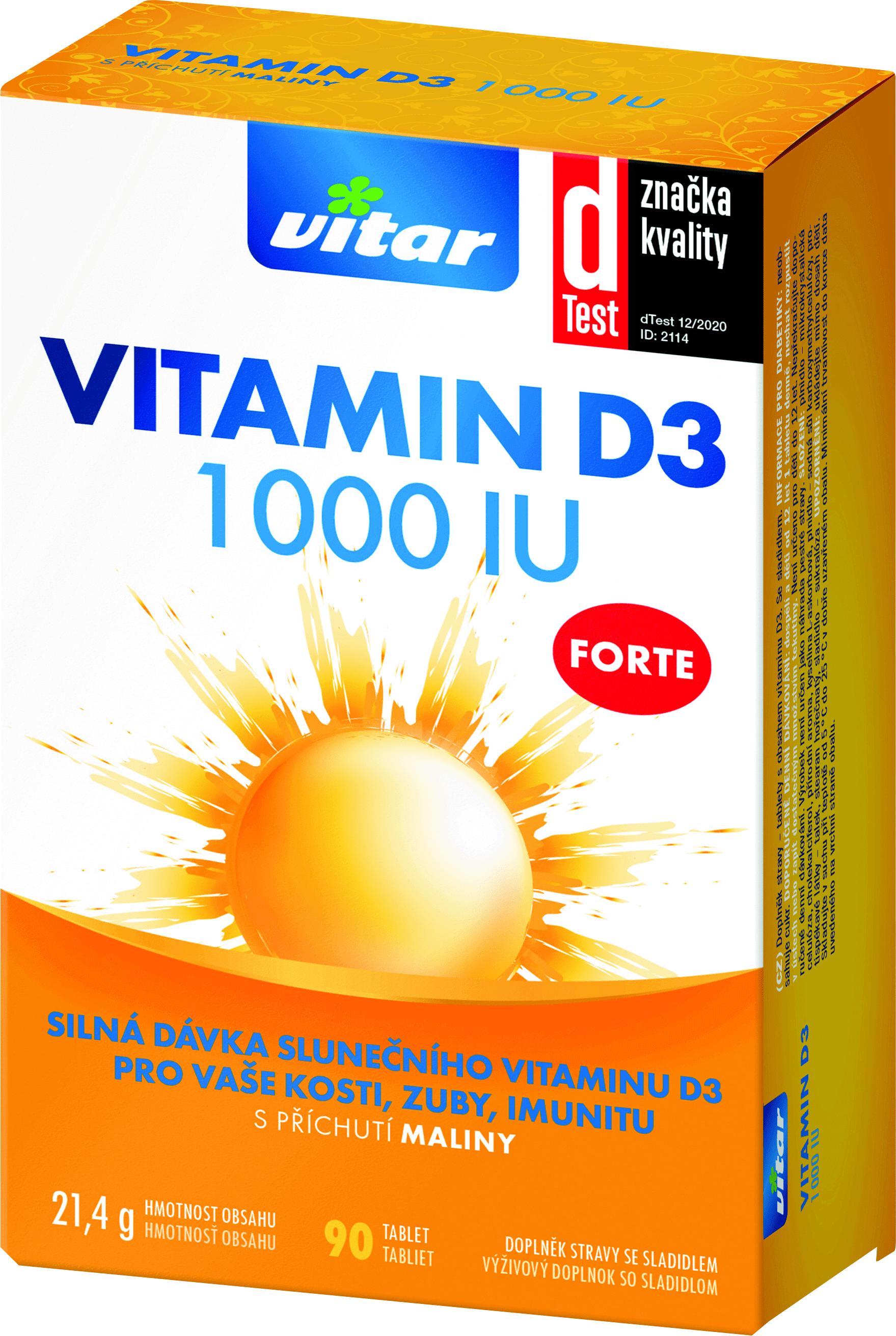 Vitar Vitamín D3 FORTE 1000 IU s príchuťou maliny 90tbl