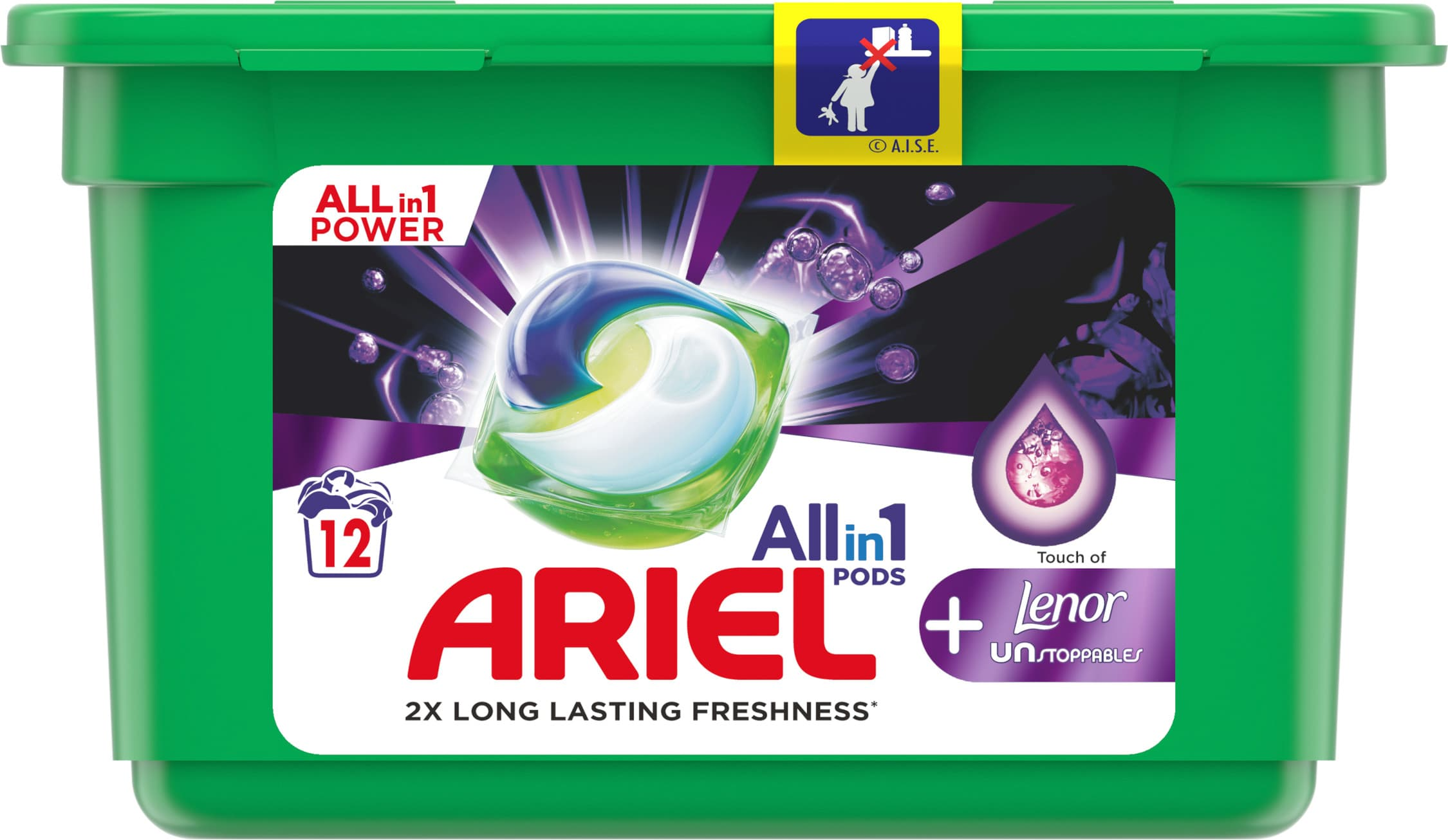 Ariel All-in-1 Touch of Lenor Unstoppables, Gelové tablety 12ks