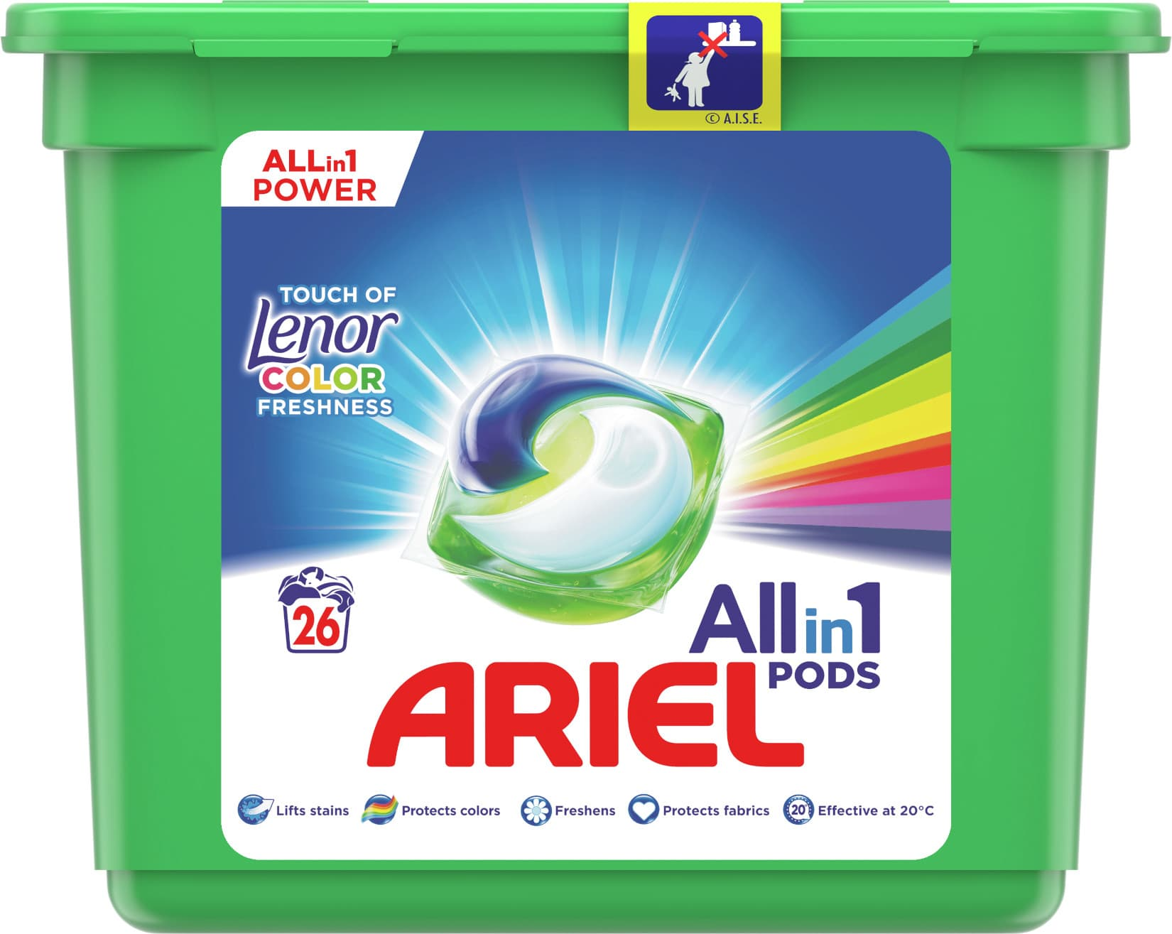 Ariel All-in-1 Color, Touch of Lenor, Gelové tablety 26ks