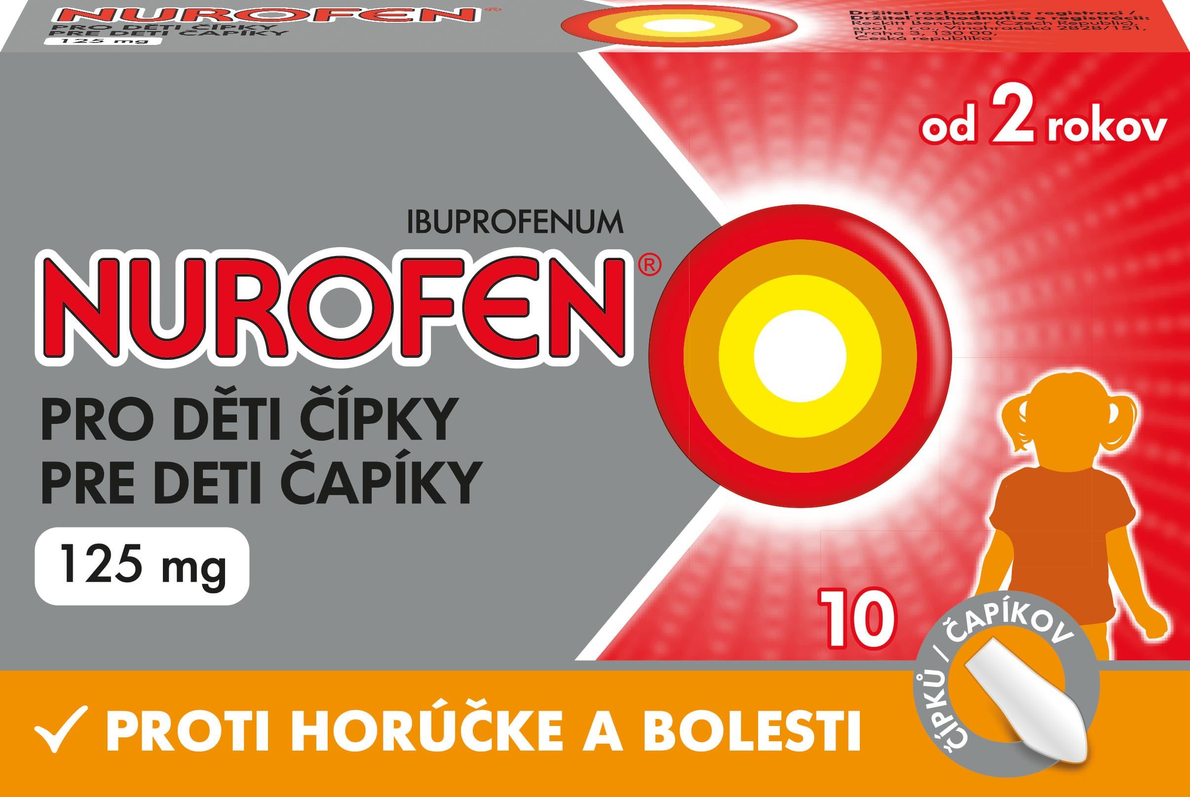 NUROFEN pre deti čapíky 125 mg sup 10 ks