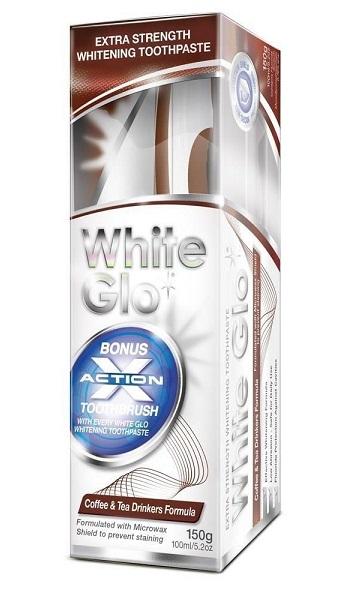 White Glo pasta Coffee and Tea Drinkers 150g + kefka a medzizubné kefky zadarmo