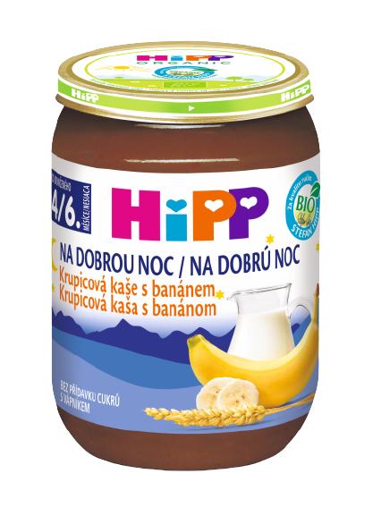 HiPP BIO Na dobrú noc Krupicová kaša s banánom 190g