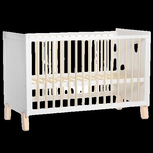 Kinderkraft Postieľka drevená so zábranou Nico White
